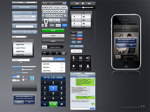 iPhone GUI PSD ソース
