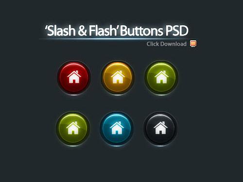 5 色ボタン PSD