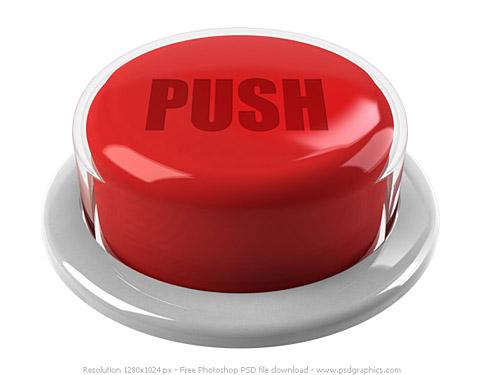 赤いプッシュ ボタン PSD