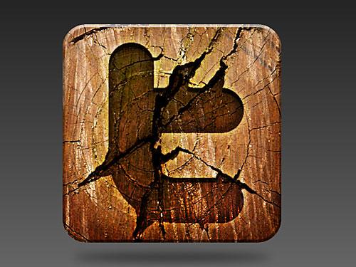 木製のソーシャル メディア アイコン PSD