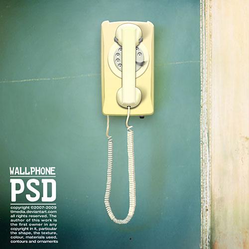 壁の電話無料 PSD ファイル