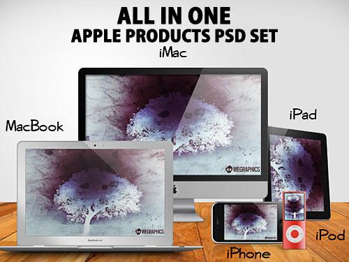 すべて 1 つのアップル製品 PSD を設定で