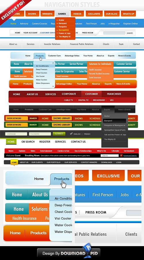 14 無料カスタム Web ナビゲーション メニューの PSD テンプレート