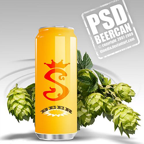 無料ビール缶 PSD