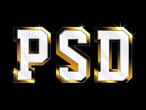 PSD の光沢のある金属テキスト効果