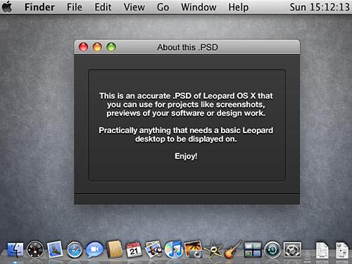ヒョウ OS X のスクリーン ショット PSD