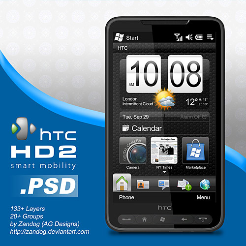 無料 HTC HD2 スマート フォン PSD