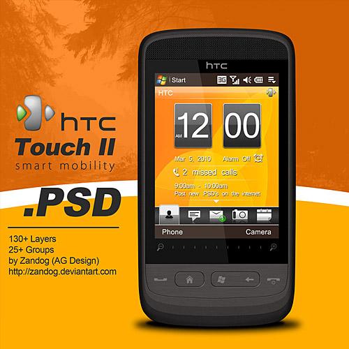 HTC タッチ 2 スマート フォン PSD