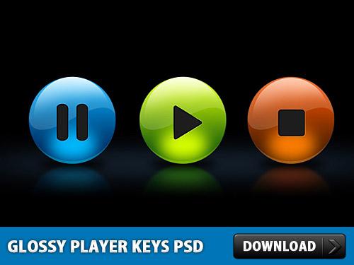 光沢のあるプレーヤー PSD をキーします。