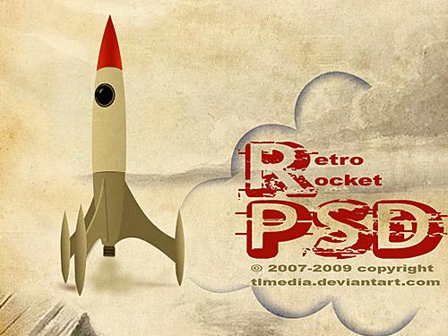 レトロなロケット PSD ファイル