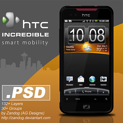 HTC 信じられないほどスマート フォン PSD