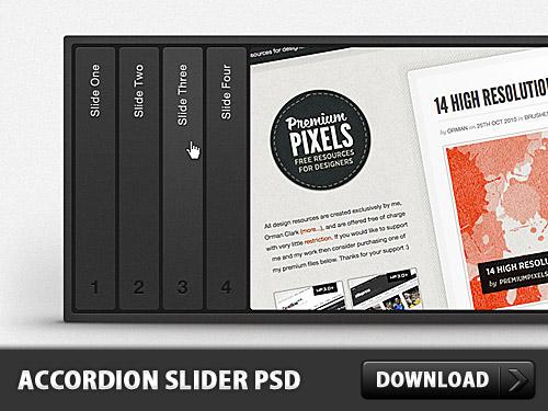 水平方向のアコーディオン スライダー無料 psd ファイル