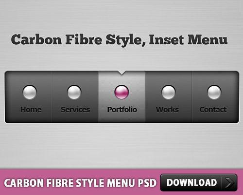 炭素繊維スタイル メニュー無料 psd ファイル