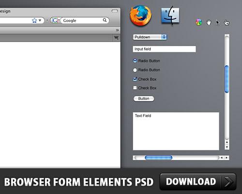 ブラウザー フォーム要素無料 psd ファイル