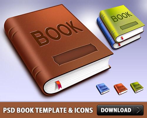 ブック テンプレートとアイコン無料の PSD ファイル