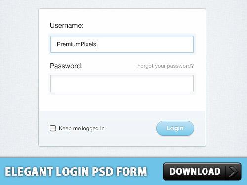 エレガントなログイン フォーム デザイン PSD
