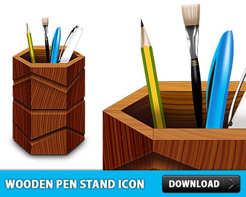無料の木製ペンホルダー スタンド アイコン PSD