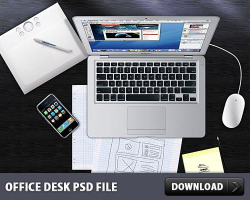 オフィス デスク無料の PSD ファイル