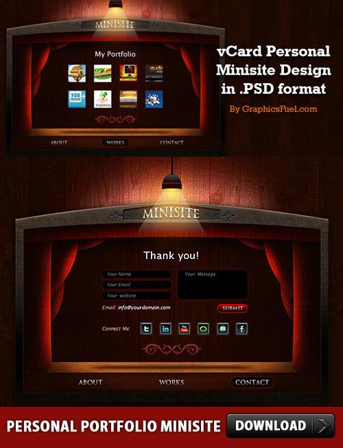 無料の個人的なポートフォリオ Minisite PSD レイアウト
