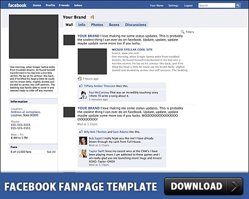 Facebook に登録無料の PSD テンプレート