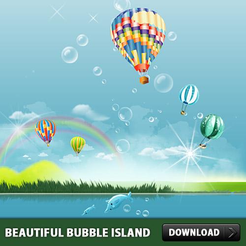 美しいバブル島 PSD ファイル