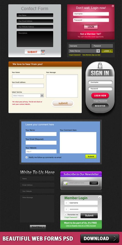 無料の美しい Web フォーム PSD