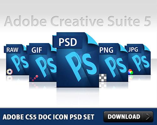 アドビ CS5 ドキュメント アイコン無料 PSD セット