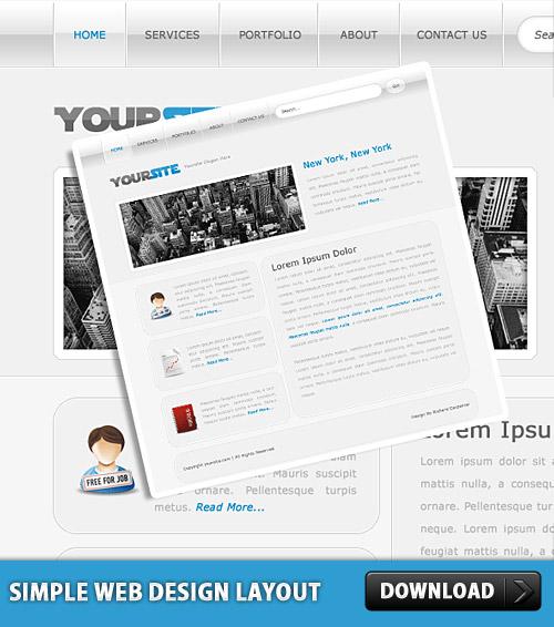 シンプルな Web デザイン レイアウト PSD