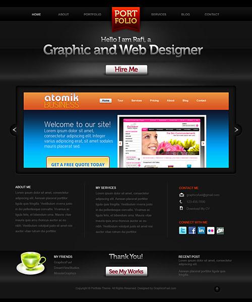 創造的なポートフォリオは、ウェブサイトの PSD テンプレート