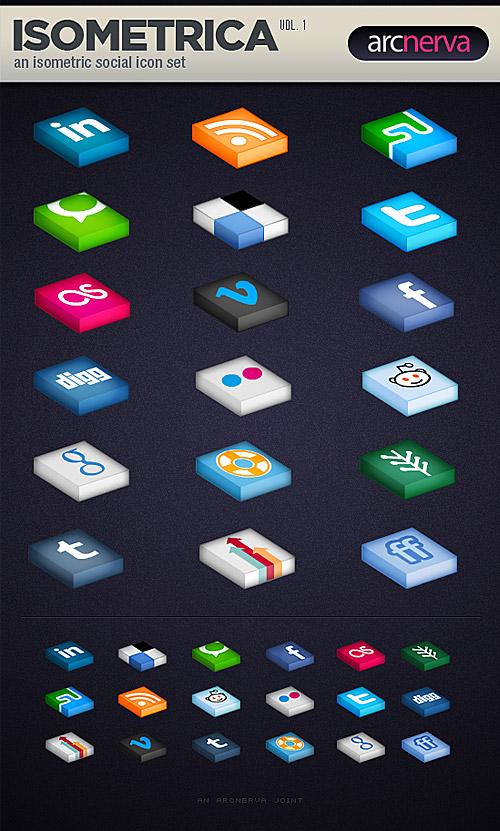 PSD の無料の Isometrica 社会メディア アイコンを設定