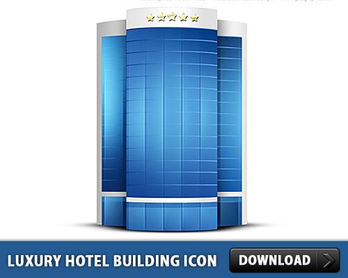 高級ホテルの建物のアイコン PSD