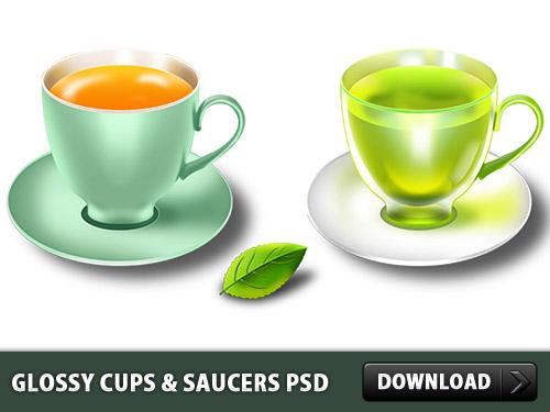 光沢のあるカップ & ソーサー PSD