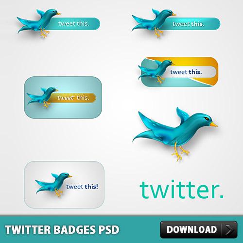 Twitter は無料の PSD をバッジします。