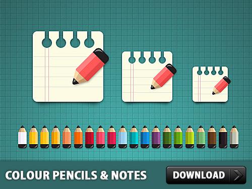 メモ アイコン PSD と色鉛筆