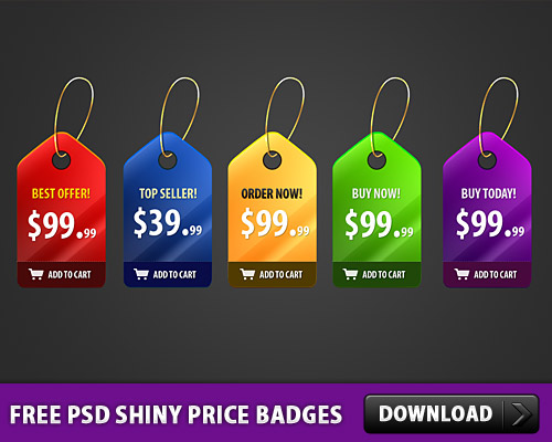5 無料の PSD の光沢のある価格のバッジ
