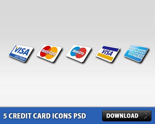 5 クレジット カードのアイコン無料 psd ファイル