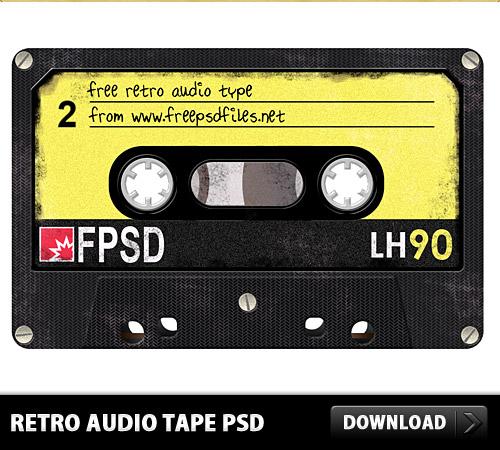 レトロなオーディオ テープ無料 psd ファイル