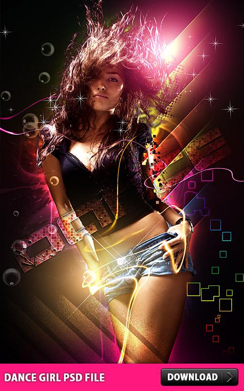 抽象的なダンス少女 PSD ファイル