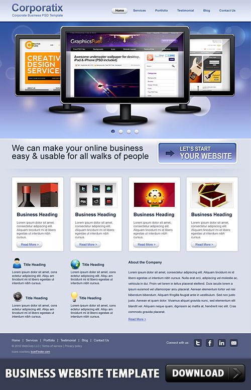 ビジネスのウェブサイト無料の PSD テンプレート