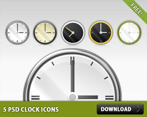 5 無料の PSD 時計アイコン