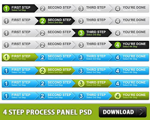 4 つのステップ プロセス パネル無料 psd ファイル