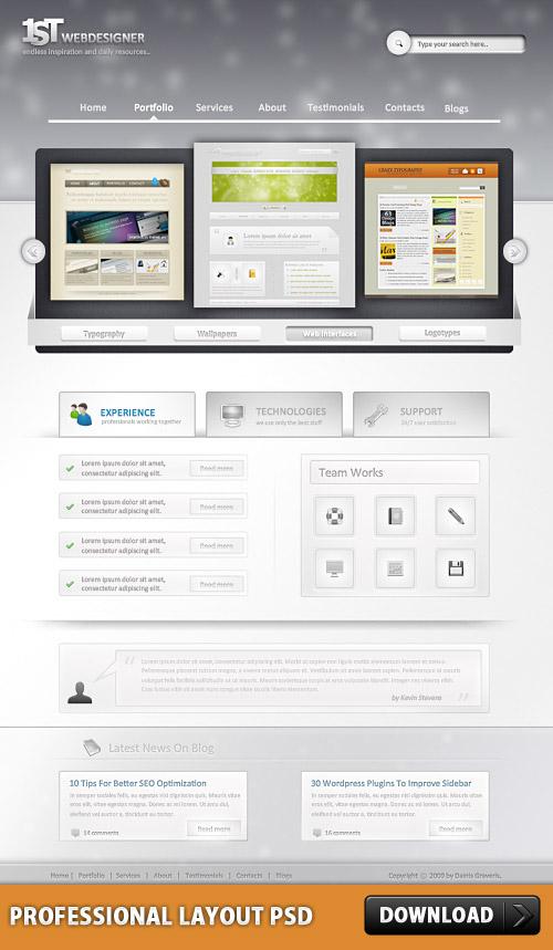 Photoshop の Web デザインのプロフェッショナルなレイアウト PSD