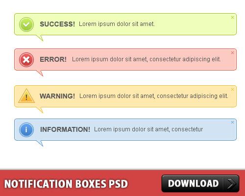 通知ボックスの 3 つの異なるスタイル