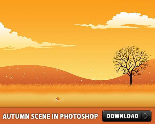 Photoshop で秋のシーン