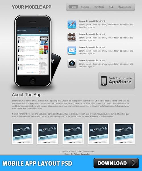 モバイル アプリのレイアウトの psd ファイル