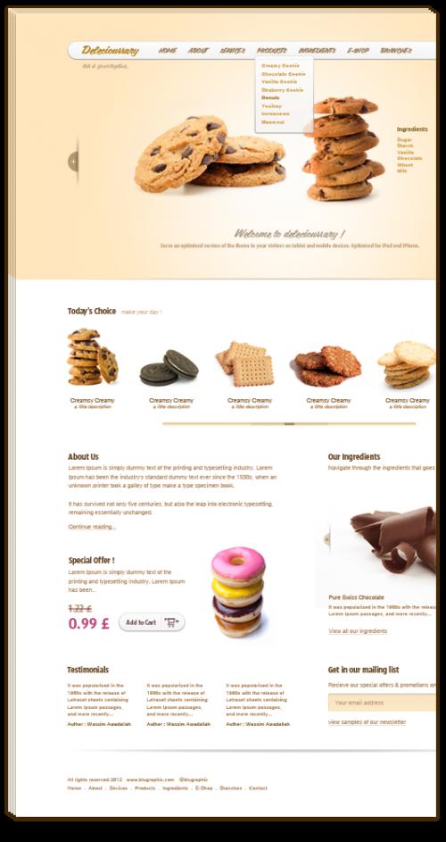 Delecioussary クッキーのウェブサイト テンプレート psd ファイル