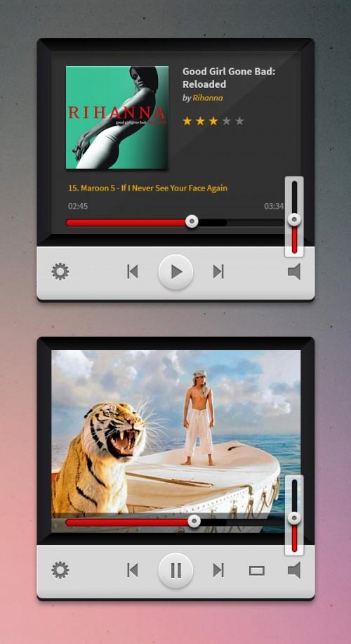 音楽やビデオ プレーヤー PSD
