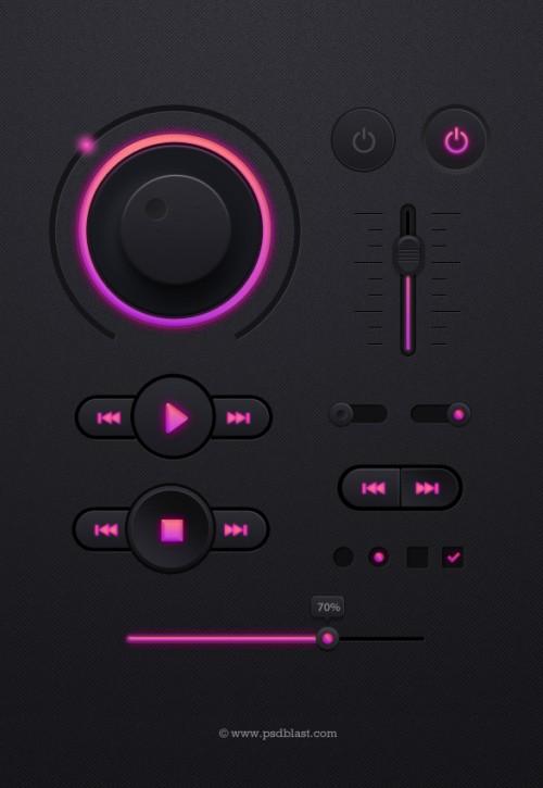 暗い音楽プレーヤー UI キット PSD
