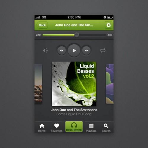 iPhone 音楽プレーヤー アプリケーション インターフェイス PSD