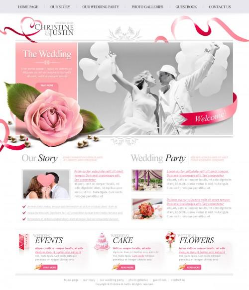 結婚式の PSD のウェブサイト無料テンプレート